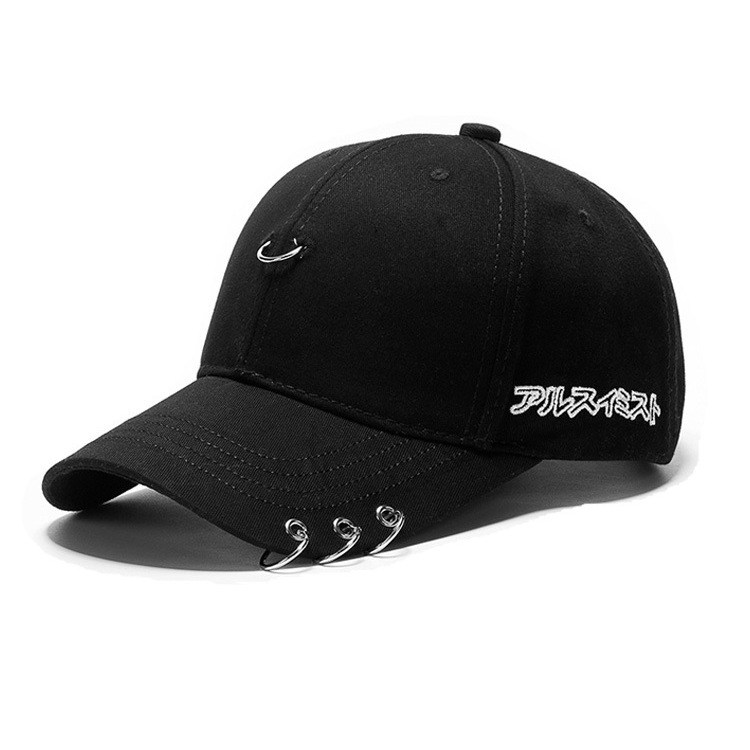 Korean Black Cotton Sport Baseball Cap Letter Embroidery Circle Ring Decor Casual Peaked <strong>Hat</strong>