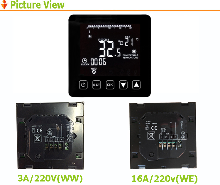 HY08WE Weekly Programmable LCD Display Tempreature Control Thermostat