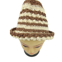 100% handcraft knitted straw paper hat