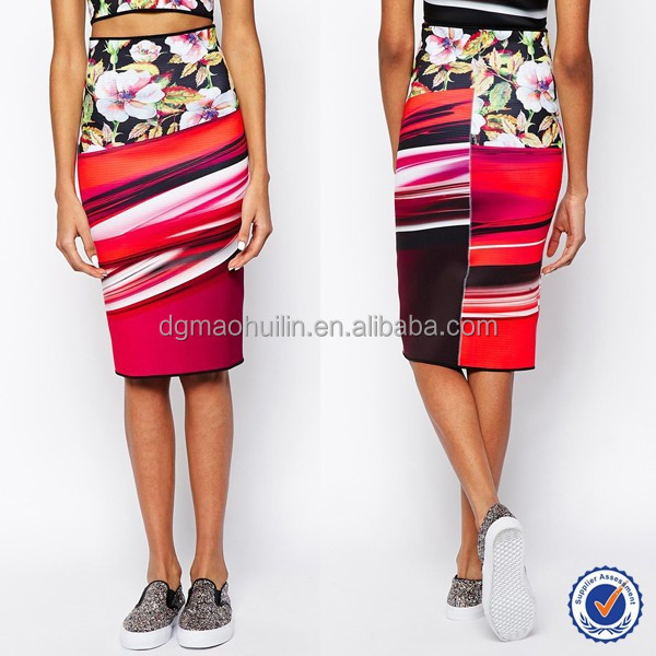 tailor made garment factory candy colored floral print pencil skirt hign waist knee length skirt for women