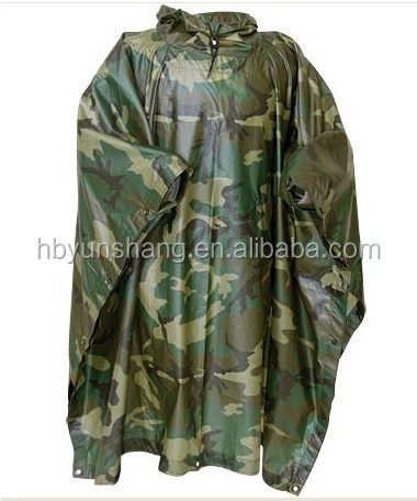 Outdoor essentials high quality heavy long military EVA/PVC rain poncho