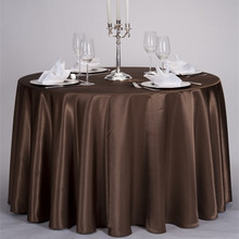 "120"" Coffee Color Satin Pintuck Banquet or Wedding Decorative Round Table Cloth"