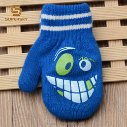 J402 Custom Printed Cartoon Pattern Acrylic Cute Knitting Gloves