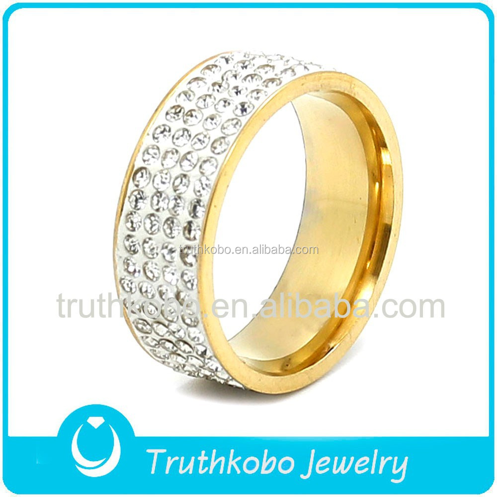 Hot Sale Elegant Jewelry For Womens PVD Plating 18k Gold Color Gorgeous Finger Stainless Steel Shiny Four Rows Clay Crystal Ring