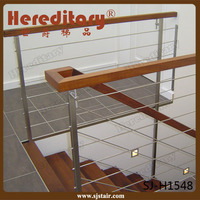 house staircase stainless steel wire rope railing system with wood handrail