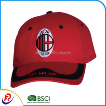 Hot sale factory price custom logo AC milan football fans cap hat embroidery curved bill promotional golf cap