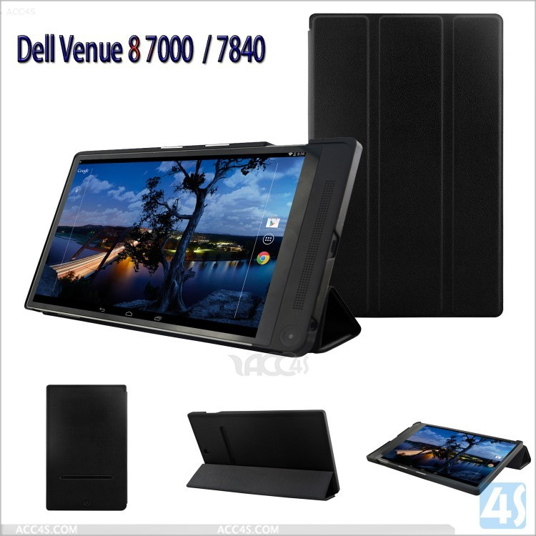 100% fit Auto sleep wake up Three Folding smart Leather Case cover for Dell Venue 8 7840