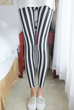 Milk Silk Black And White Striped Leggings Slim Sexy Tight Pencil Feet Pants 9516