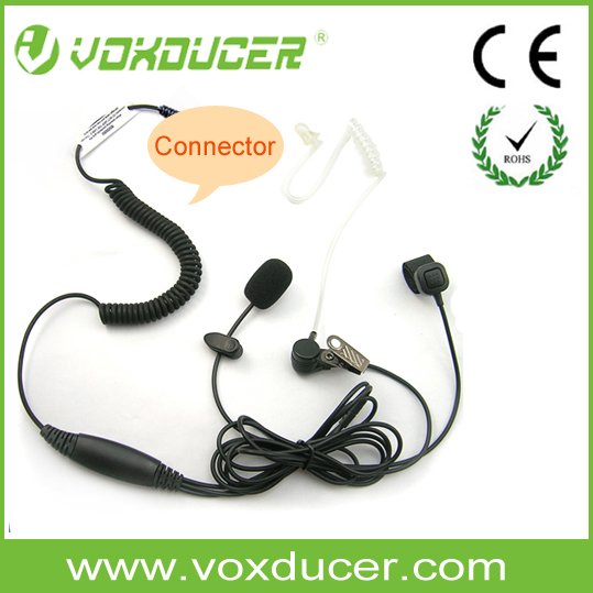 [E110240] 3 wires figer ring Boom Microphone Clear Tube earpiece for walkie talkie/ two way radio/ cellphone
