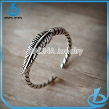 Simple design gun metal cuff ring leaf shape ring