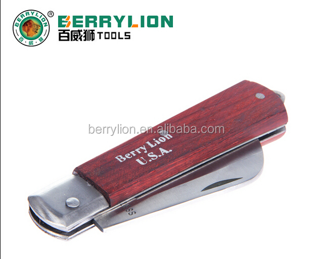 BERRYLION foldable curved blade skinning electrician knife, 8 inches pocket electrican knife