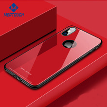wireless signal connects well 0.5mm tempered glass back cover case for iphone X 8 8plus pure color anti-shock soft TPU edge case