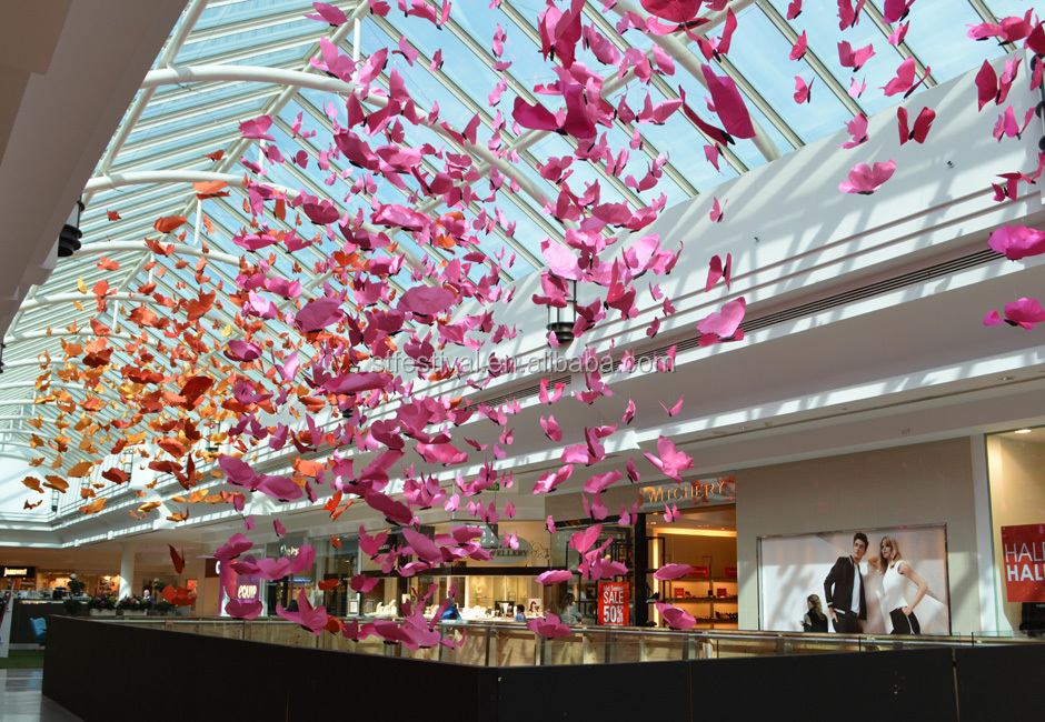 New design shopping mall butterfly atrium decoration view for Atrium design and decoration