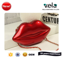 Most Popular Red Lip Shape Pu Leather Fabric Ladies Cosmetic Clutch Bag