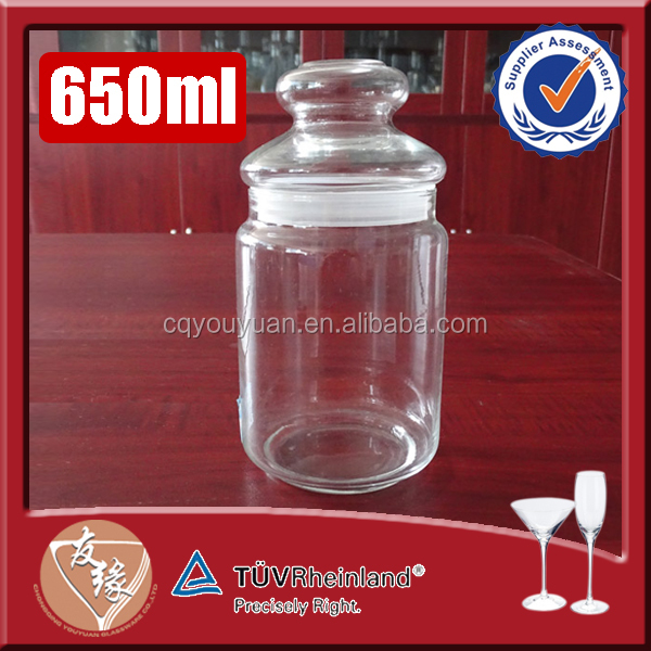 Hot selling cork top storage glass jar with lid 650ml