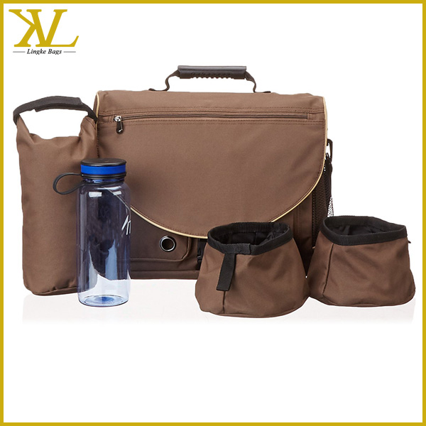Personalized travel pet sling bag with water bottle , dog walking bag for food