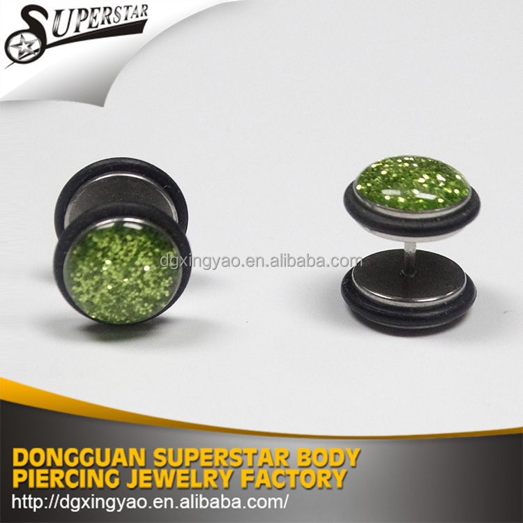 Stainless steel glitter 16 gauge fake ear piercing jewelry/stainless steel earrings jewelry