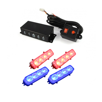 4x4 leds red blue color vehicle grill warning flashing lights