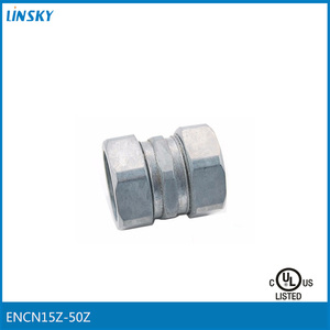 "Shanghai linsky UL listed electrical wire pipe Die Cast Zinc 1/2""-2"" Customized OEM EMT Compression Connector"