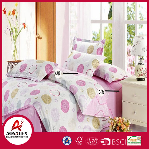 100% Polyester Pink Circle Bedding set,Single size Double Size King size Queen size ,55gsm-140gsm Home Use duvet cover sets