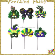 Assorted Feather Mardi Gras Stick Mask FGM-0207