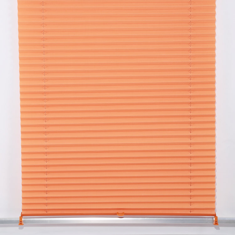 22mm Budget Orange Cordless Pleated Fabric Sun Blinds for Coffee House