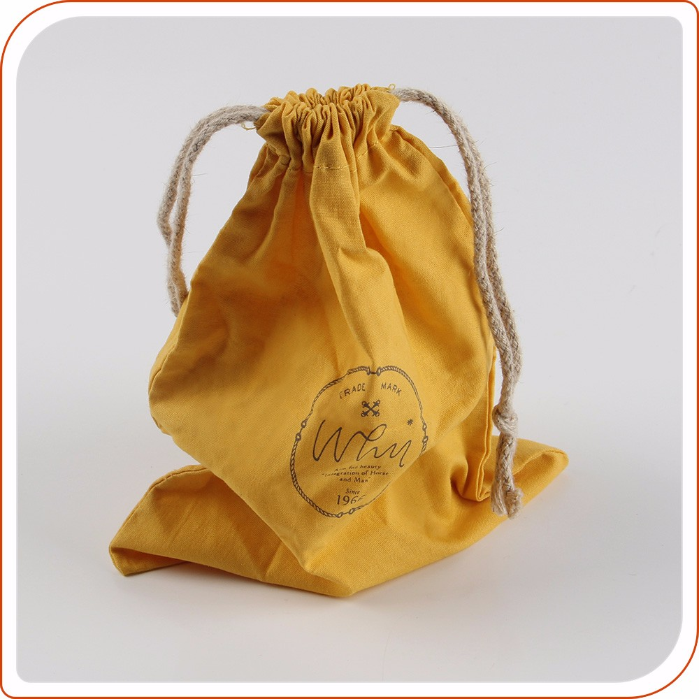 Custom drawstring organic jewelry muslin cotton pouch bag