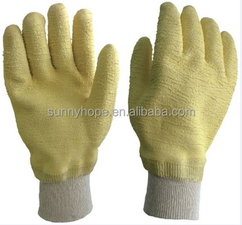 Knit wrist full coated latex gloves yellow