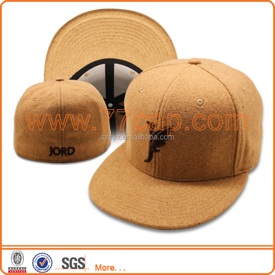 High quality customized mens winter melton wool snapback baseball cap