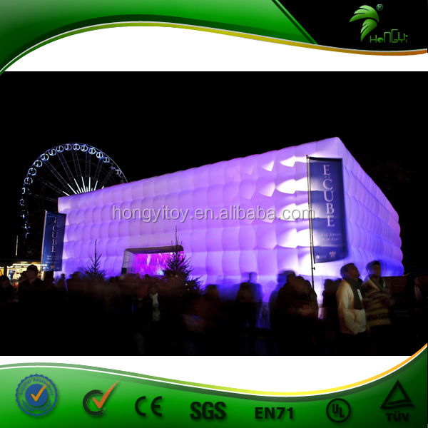Giant Cube Booth LED Inflatable Tent / Outdoor Disco Party Tent
