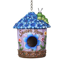 customized handmade brown painted color decorative Blue Iris Bird House
