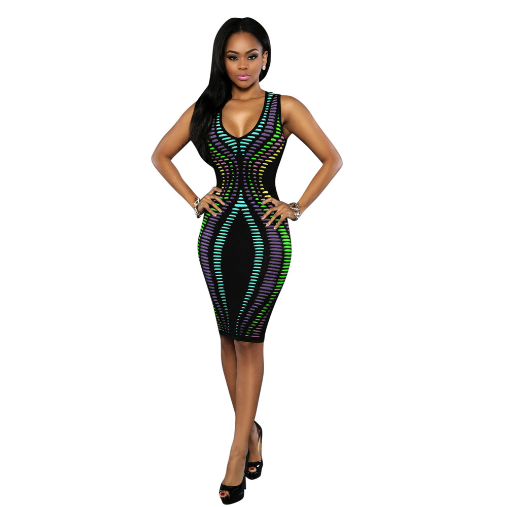 Wholesale Women sleeveless stripe print slim fit package hip bodycon dress