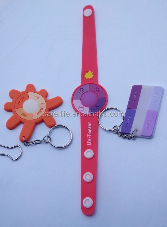 cartoon soft silicone automatic test UV bracelet watch and key chain for adult or children