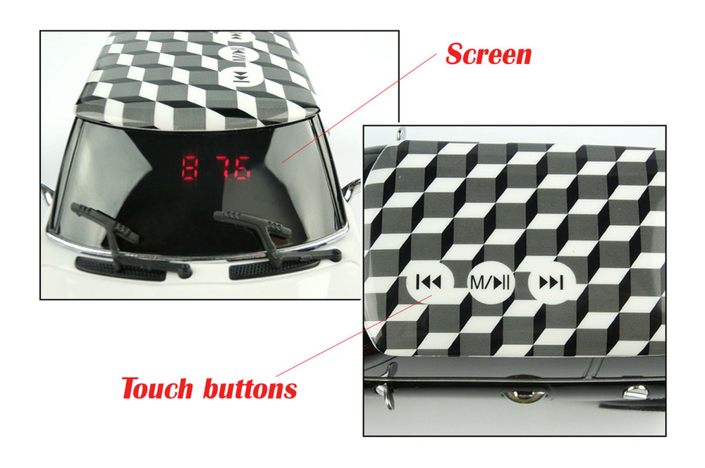 Newst Fashionable Car Style Touch buttons Mini speaker Support TF Card up to 32GB digital MP3 Music Player FM ( DW-M1)