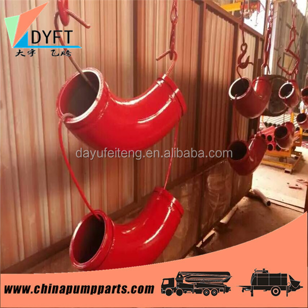 concrete pump truck construction spare parts twin walls DN125 long working life putzmeister beton bend elbow