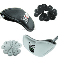 Custom PU leather golf iron head cover set 10pcs black/white with embroidery skull leather iron head cover