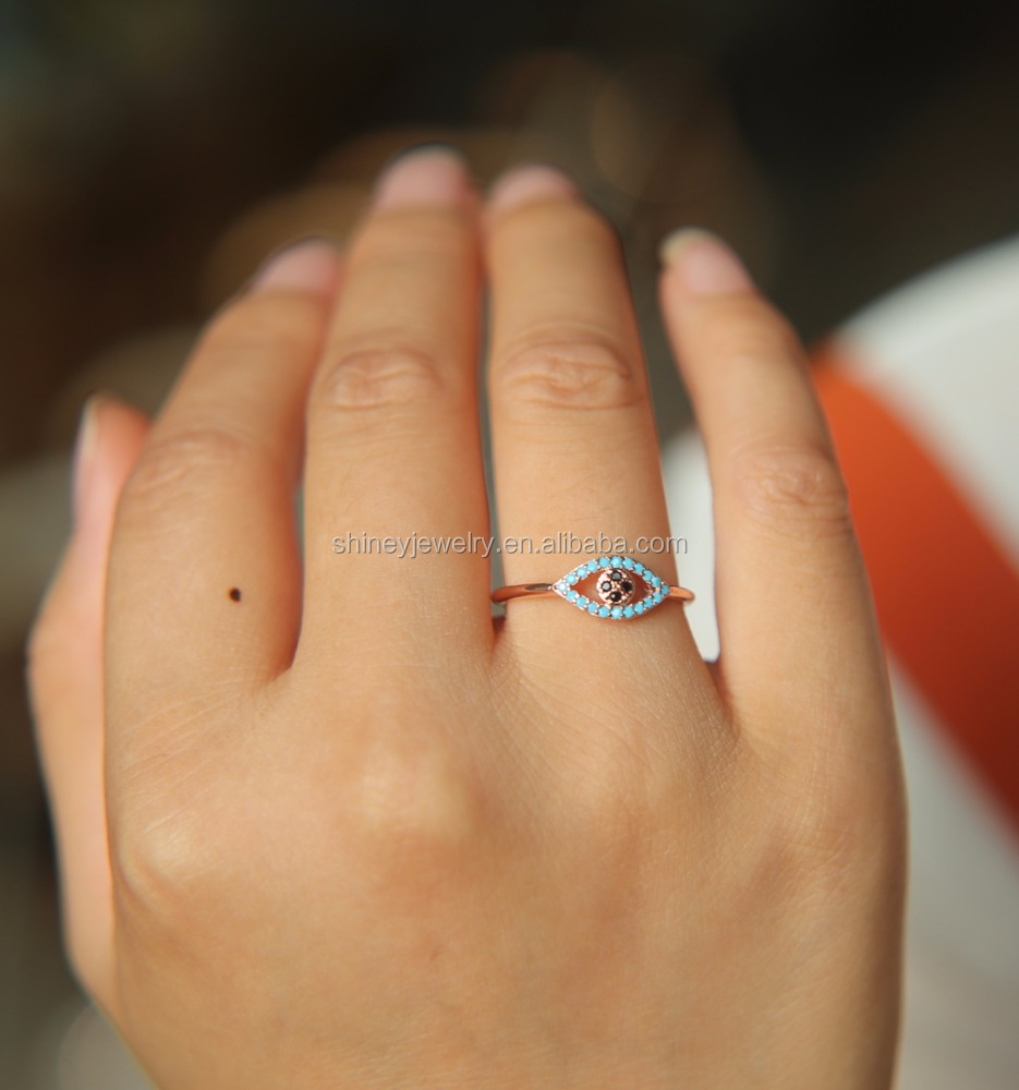 HIGH QUALITY drop shipping rose gold evil eye open women turkish midi <strong>ring</strong>