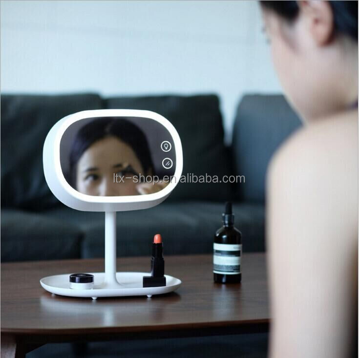 Makeup Mirror Lamp Multifunction Mirror With Table Lamp Small Thing Organizer LED Makeup Mirror Lamp For Sale