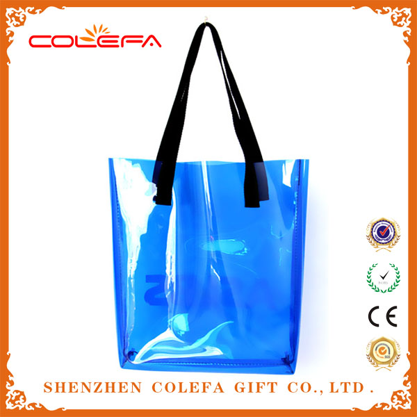 wholesale promotional PVC candy colour clear tote bag
