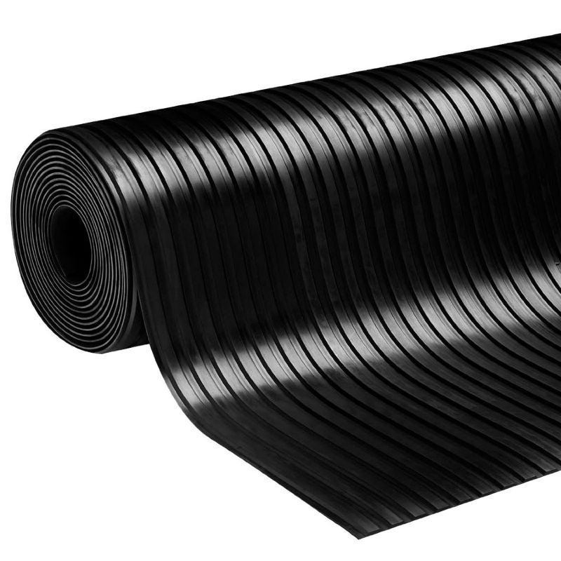 black NR/SBR Wide Ribbed Rubber flooring Mat 3mmx1.2mx10m fabric impression back