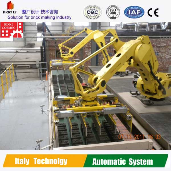 Robot setting machine for automatic brick production line