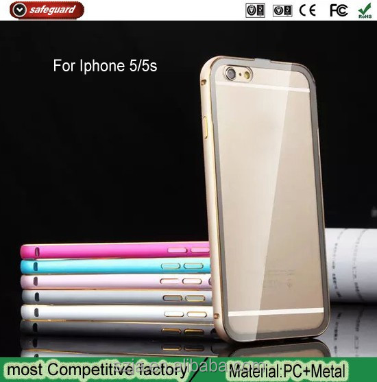 Luxury Metal Bumper Frame Transparent Clear PC Phone Back Case Cover For iphone 5 5s for apple iphone5 5s aluminum case