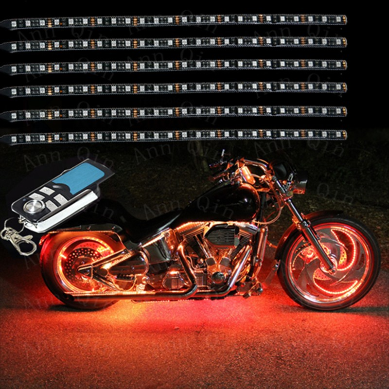 6Pcs Led Light Kits Multi-Color Wireless Remote Control Motorcycle Atmosphere Lamp RGB Flexible Strips Ground Effect Light