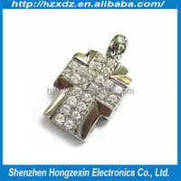 Popular bulk wholesale Gifts Cross usb pen drive 2gb, jewelry usb pen drive 2GB matel cheap price