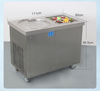 fruit yogurt fry ice pan cream rolls machine with cooling tanks and compressor in snack machines