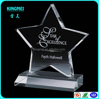Factory hot sell star shape acrylic,crystal award,lucite trophy with laser engraving