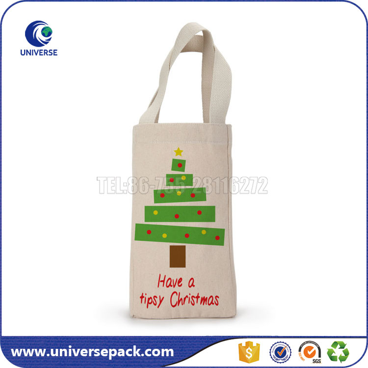 Custom Christmas Gift Canvas Bottle Wine Tote Bag with Silk Printing