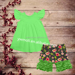 hot sale green cotton new flutter sleeve tops flower patterns ruffle shorts cheap china bulk wholesale kids clothing