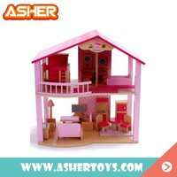 Cute Fashion Pink Wooden Small Toy Doll House