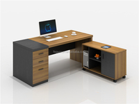 Guoxun Wholesale Office Desk Manager Table Luxury Executive furniture with material leg and long side cabinet